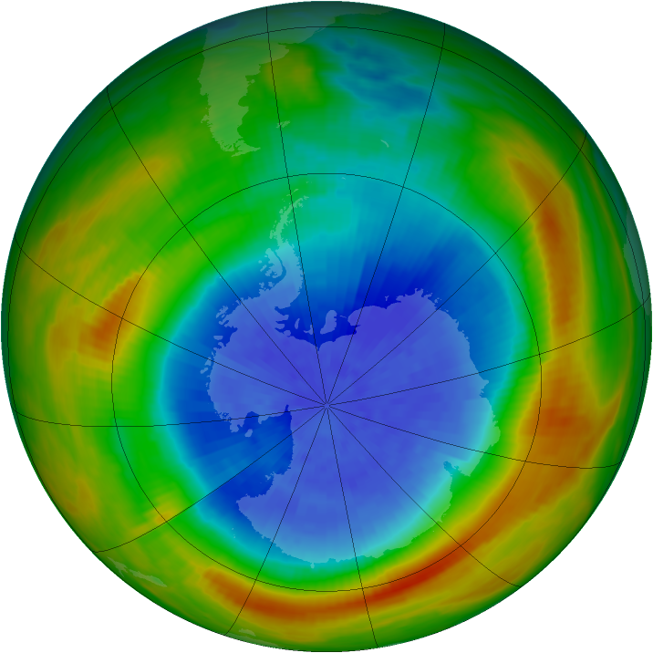 Antarctic ozone map for 29 September 1983